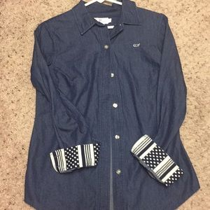 Blue jean long sleeve button up